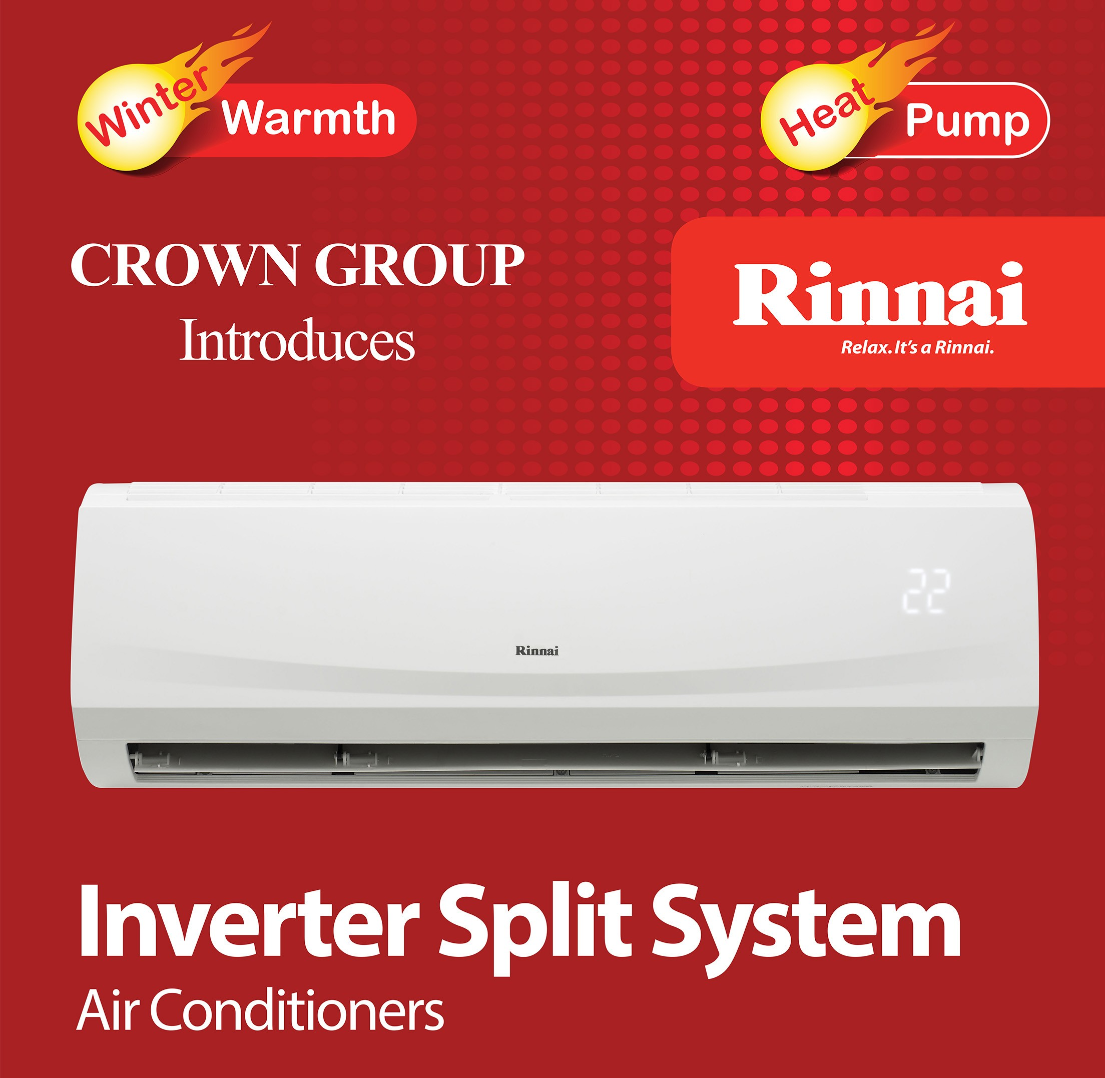 9f7dfc05fbb RINNAI 2.5kW INVERTER REVERSE CYCLE SPLIT AIR CONDITIONING SYSTEM